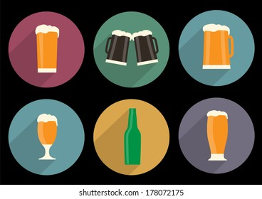 Vector set of flat beer icons with long shadow