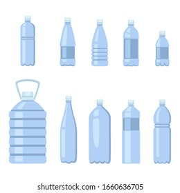 Vector Set of Flat Blue Plastic Bottle Icons. Water Package Symbols
