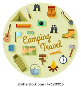 vector set of flat camping touristic icons.Camping vector set with bonfire,  guitar,tourist tent,