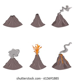 Vector Set of Flat Color Volcano Illustrations on White Background