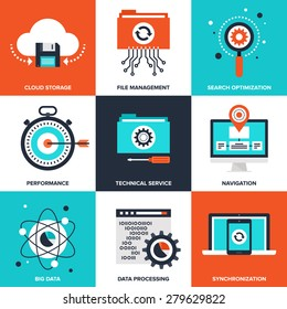 Vector set of flat data management icons on following themes - cloud storage, file management, search optimization, performance, technical service, navigation, big data, data processing, sync