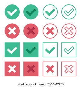 Vector Set of Flat Design Check Marks Icons. 8 Different Variations of Ticks and Crosses Represents Confirmation,  Right and Wrong Choices, Task Completion, Voting, etc. Isolated on White Background.