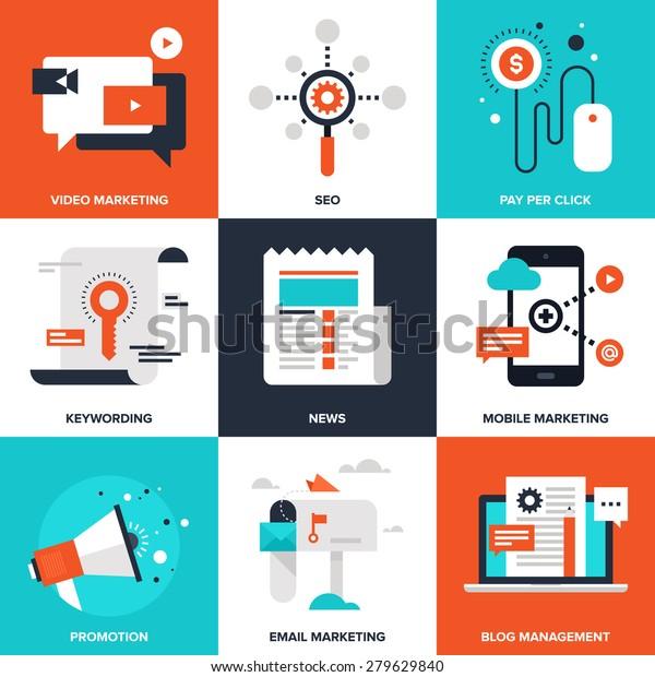Conjunto vectorial de iconos de marketing digital plano. El paquete de iconos incluye los siguientes temas: pago por clic, marketing de video, administración de blogs, marketing por correo electrónico, promoción, noticias, palabras clave, SEO, marketing móvil