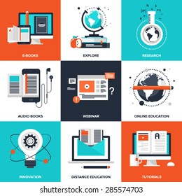Vector set of flat e-learning icons on following themes - ebooks, explore, research, audio books, webinar, online education, innovation, distance education, tutorials