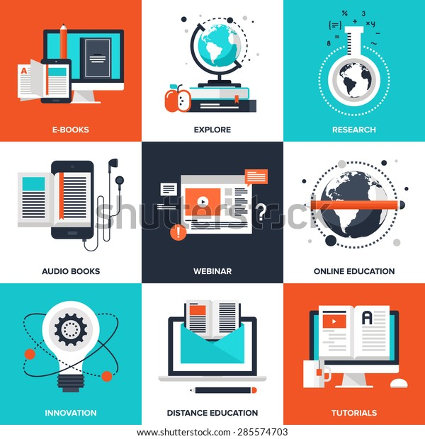 Vector Set Flat Elearning Icons On Stock Vector Royalty Free 285574703