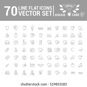 Vector set of flat graphic icon, line, contour, thin design. Dental, dentist. Element, emblem, symbol, logo. Disease, care, dental treatment. Prosthetics, teeth whitening, removal. Web site.