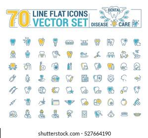 Vector set. Flat graphic icon, line, contour, thin design. Dental, dentist. Element, emblem, symbol, logo. Disease, care, dental, diagnostics, treatment. Prosthetics, whitening, removal. Web site.