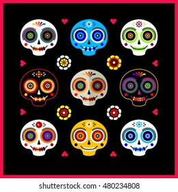 Vector set of flat icons in cartoon naive style with funny sugar skulls, flowers and hearts. Mexican poster. Dia de los Muertos or Day of the Dead illustration.