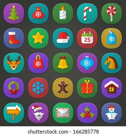 Vector set of flat icons. Christmas & New Year theme. Colorful symbols of tree, gift bag,  candle, sweets, star, cap, calendar, deer, xmas toy, bell, snowflake, garland,  wreath, cookie, Santa Claus