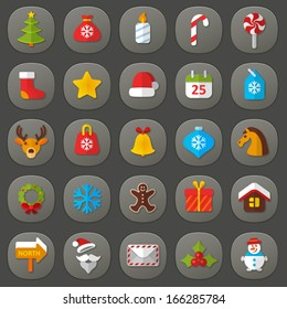 Vector set of flat icons. Christmas & New Year. Colorful symbols of tree, gift bag,  candle, sweets, star, calendar, deer, xmas toy, bell, snowflake, garland,  wreath, cookie, Santa Claus, snow man
