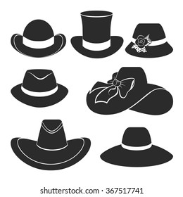 vector set of flat icons with classic hats