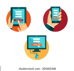 Vector set of flat icons computer, smartphone and tablet with sign-up button