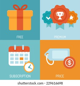 Vector set of flat icons - distribution of digital content - different business models - free, premium, subscription