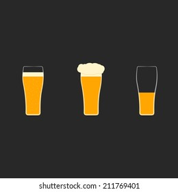 Vector set of flat icons with glasses of beer.Full glass  with bubbles,foam, half-empty mug. Light, dark, cold, yellow ale, guinness.Pint in conical glassware.Concept of alcohol beverages, tavern, pub
