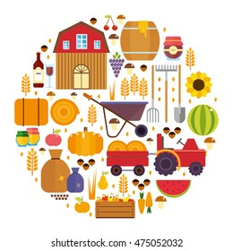 vector set of flat icons harvesting equipment for agriculture and horticulture, and machinery and hand tools. harvest fruits and vegetables. wine and honey, pickles for the winter. hay gathering