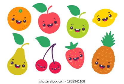 Vector set flat illustration of a fruits in kawaii style. Cute fruit and berries in manga style.