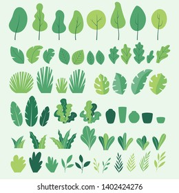 Vector set of flat illustrations of plants, trees, leaves, branches, bushes and pots. Flat cartoon vector illustration