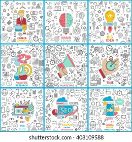 Vector set of flat line illustrations on following themes - pay per click, time management, brain storm, career growth, big idea, analysis research, content marketing, seo, social media marketing