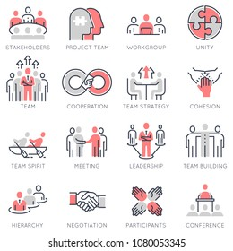 Vector set of flat linear icons related to business process, team work and human resource management. Flat infographics design elements with stroke lines