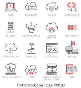 Vector set of flat linear icons related to cloud computing service and data storage. Flat infographics design elements with stroke lines