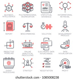 Vector set of flat linear icons related to business management, strategy and business intelligence. Flat infographics design elements with stroke lines