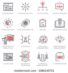 Vector set of flat linear icons related to business management, strategy, data management, business process. Flat infographics design elements with stroke lines