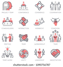 Vector set of flat linear icons related to team work, career progress, business process and collaboration. Flat infographics design elements with stroke lines