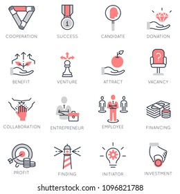 Vector set of flat linear icons related to business process, team work, human resource management and stakeholders. Flat infographics design elements with stroke lines