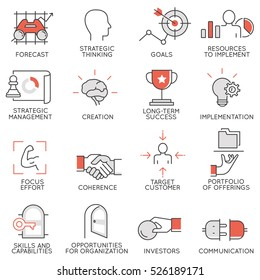Vector set of flat linear icons related to business management, strategy, career progress and business process. Mono line flat pictograms and design elements - 3