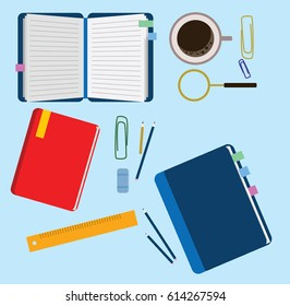 Vector set of flat notebook, coffee, pen and other