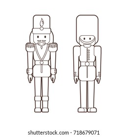 Vector set of flat nutcrackers soldiers - classic Christmas wooden ballet dancer figurine and British guard toy in lineart style, outline illustration for coloring on white background.