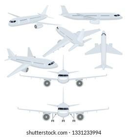 Vector Set of Flat Planes Illustrations. Civil Aviation.