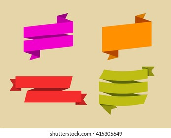 vector set of flat ribbons, stickers without label