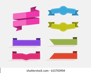 vector set of flat ribbons, stickers without label, without text
