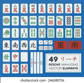 Vector set of flat riichi mahjong (majiang) elements (numbers from 1 to 9 in dots, symbols, bamboos, honors (east, south, west, north, dragons: white, red, green), pointer (east and south), counters
