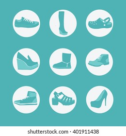 vector set flat shoes, sandals, ugg, boots, sneakers, sneakers, shoes, Crocs, Lofer, shoes