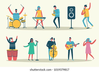 Vector set in a flat style of group of singing, playing guitar, drums, piano, saxophone and other music instrument people