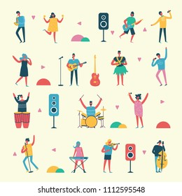 Vector set in a flat style of group of singing, playing different music instrument people