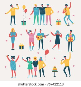 Vector set in a flat style of group of happy best friends celebrating birthday at the party.