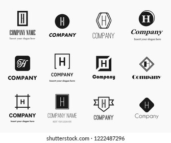 Vector set of flat style monochromatic letter H (aitch) logos - elegant, modern and simple logo collection. Editable eps file available.