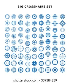 Vector set of flat targets and crosshairs icons isolated on white background . Aims symbol. Gun aim simple flat icon. Sniper sight.