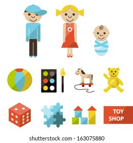 Vector set of flat toy shop icons with seven categories and illustration of boy, girl and baby.