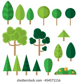 Vector set with flat trees and flowers. Eco icons in flat style.