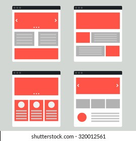 Vector set of flat website templates