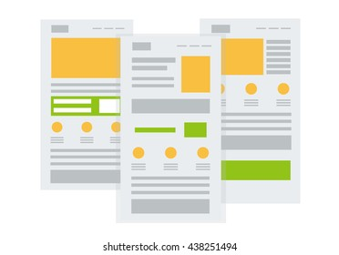Vector set of flat website templates