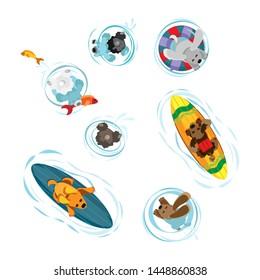 Vector set of floating dogs. Transparent background