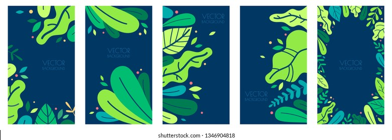 Vector set of floral abstract backgrounds. Colorful spring vertical banners, leaves texture poster. Cover design templates. Vector illustration in trendy flat style.