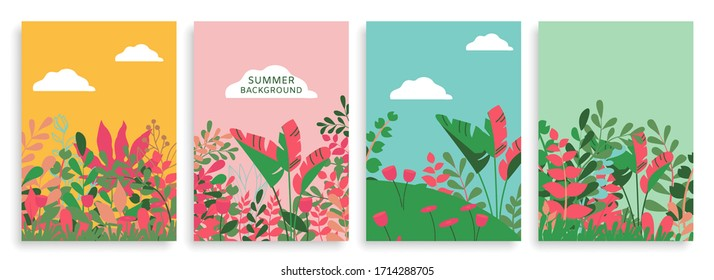 Vector Set of Floral Backgrounds with Space for Text. Futuristic Bright Banners, Posters, Cover Design Templates. Wallpaper with Leaves for Social Media.