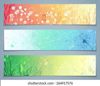 Vector set of floral banners. Three templates for your design. Dandelion, flowers, grass, butterflies in pastel colours. There are places for your text.