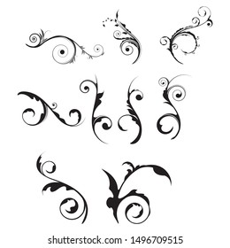 Vector set of floral calligraphic elements, dividers and rose ornaments for page decoration and frame design. Decorative silhouette for wedding cards and invitations. Vintage flowers and leaves.